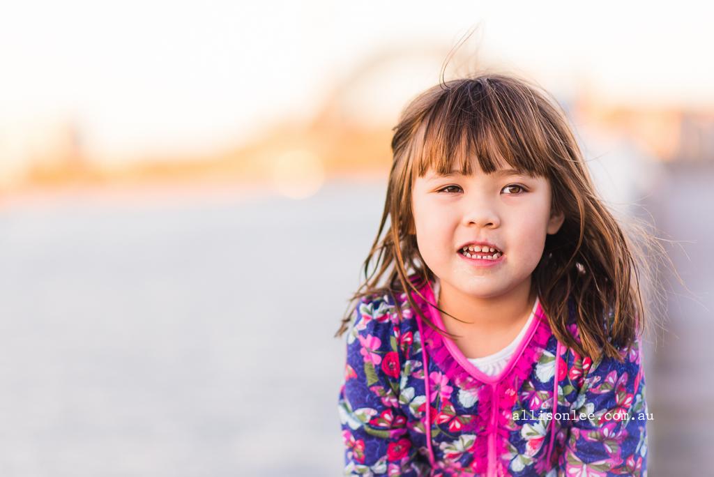 Portrait of girl with harbour bridge