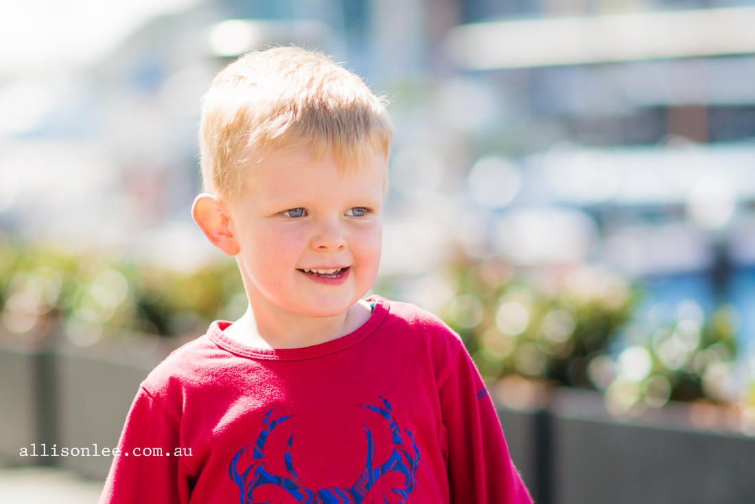 Blonde haired boy in Darling Harbour