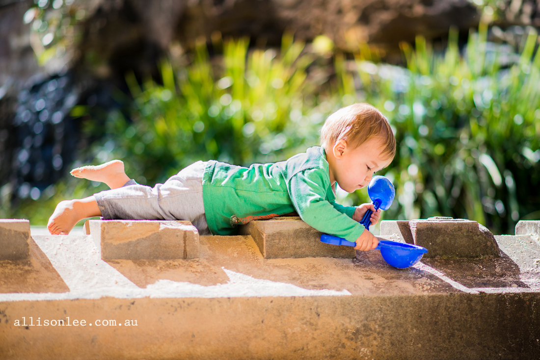 Two year old boy playing in the sunshine in Pyrmont