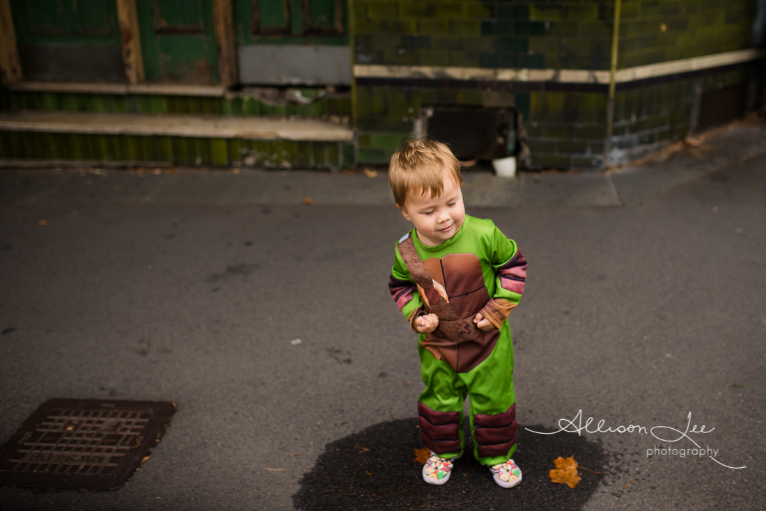 Boy dressed as Ninja Turtle