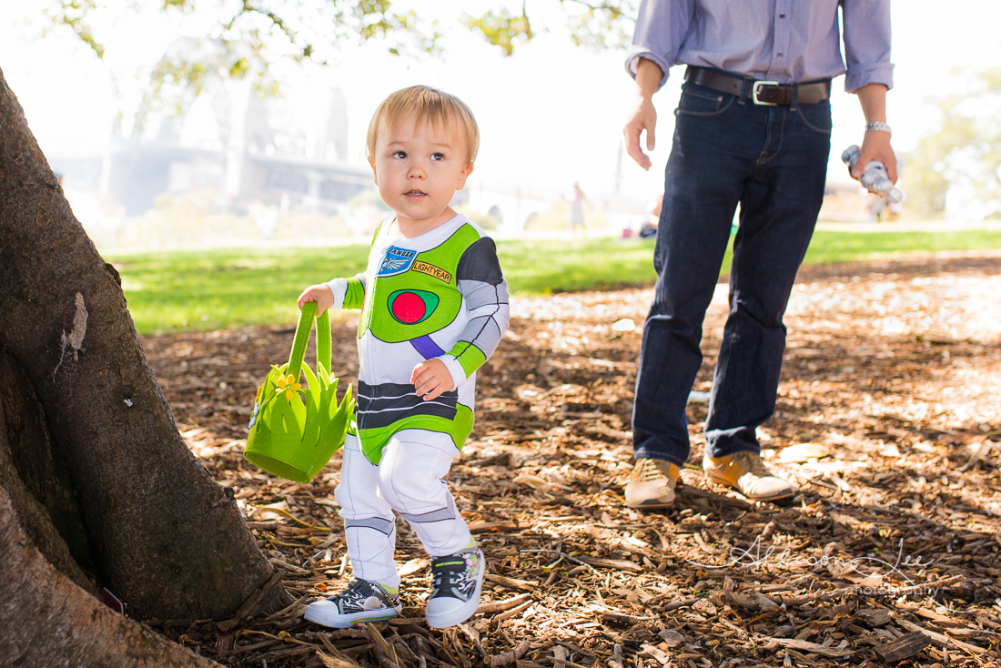 Two year old boy dressed as buzz lightyear