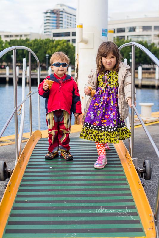 Kids waiting on Sydney Ferry