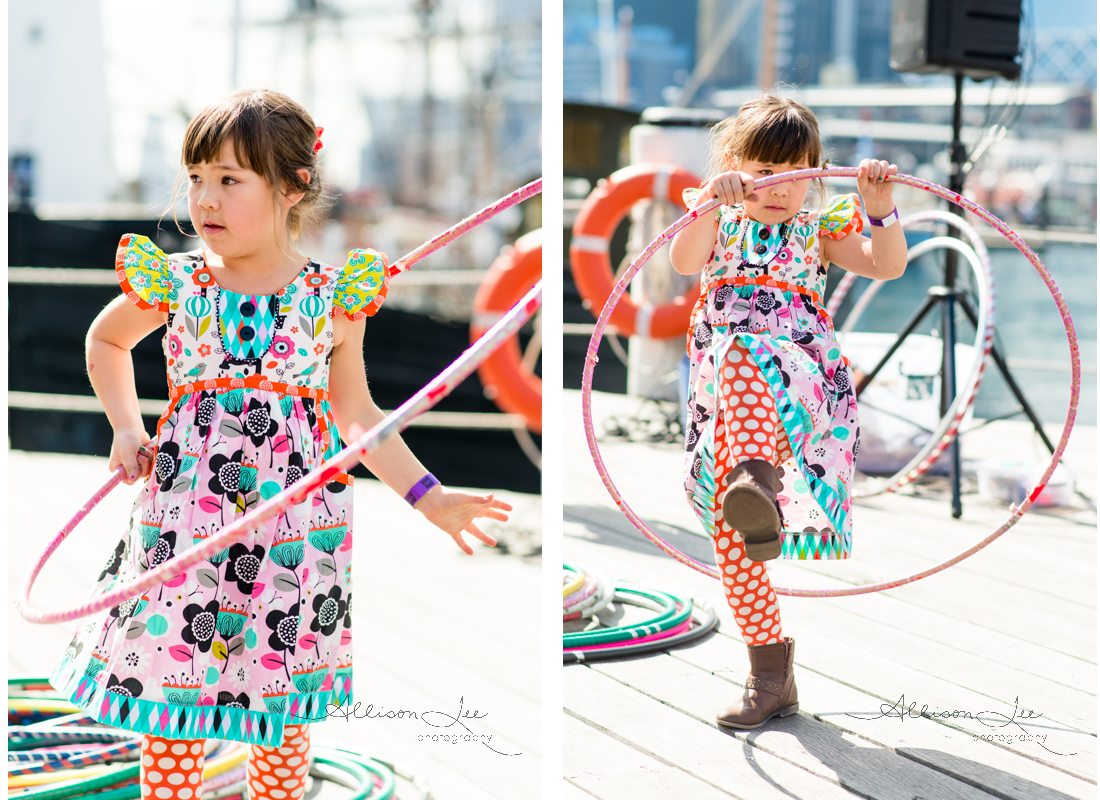 hoola hooping in darling harbour at the maritime museum