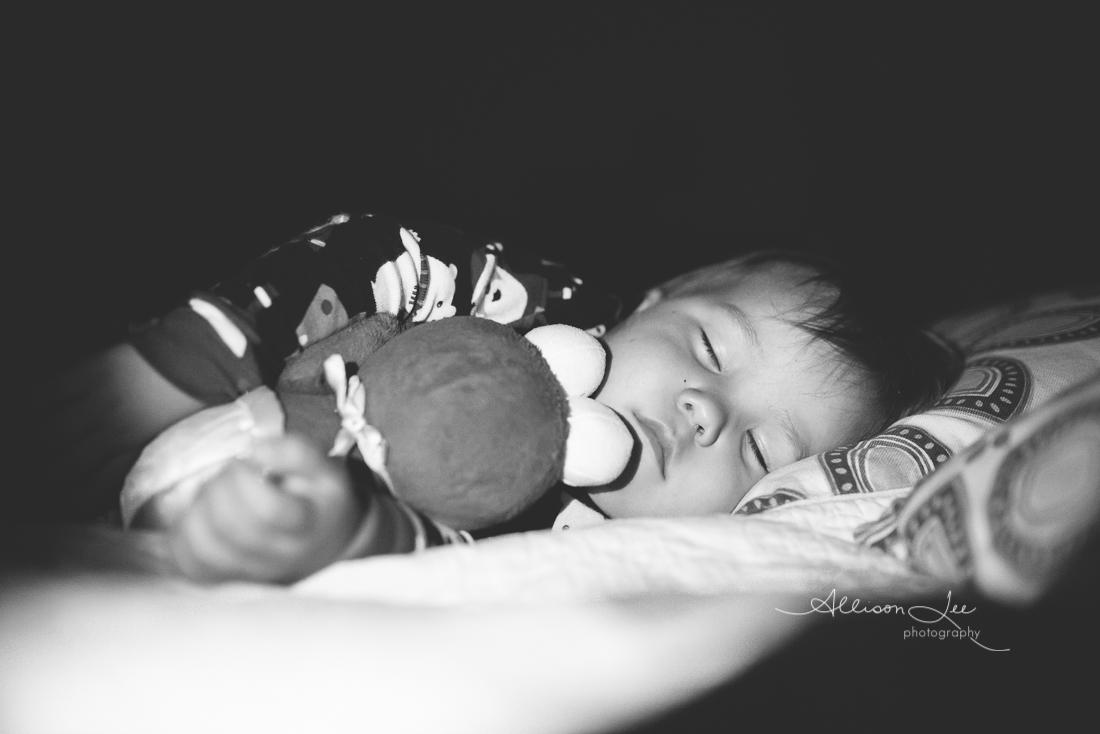 sleeping child with Elmo child portrait