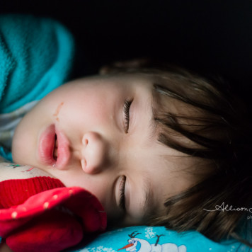 Sleeping girl with Jessie Doll Child Portrait