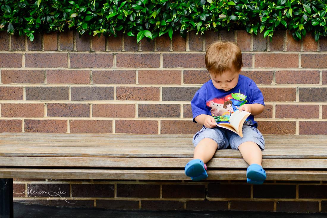 Little boy portrait reading