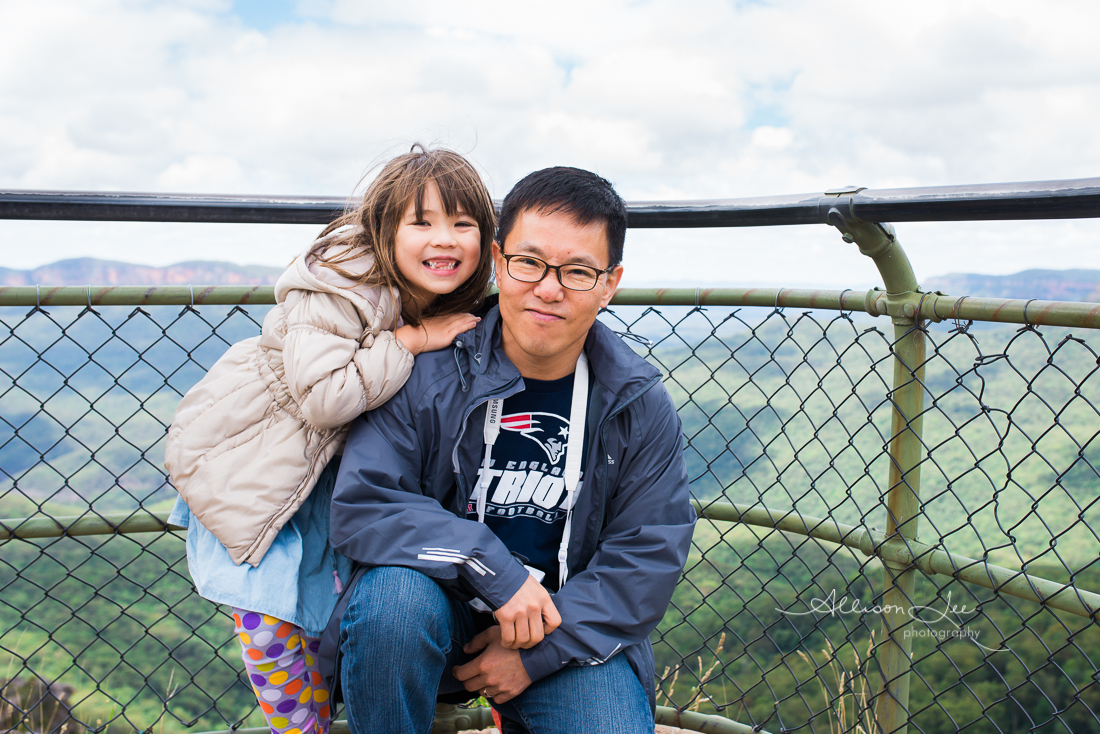 Father and daughter in the blue mountains portrait