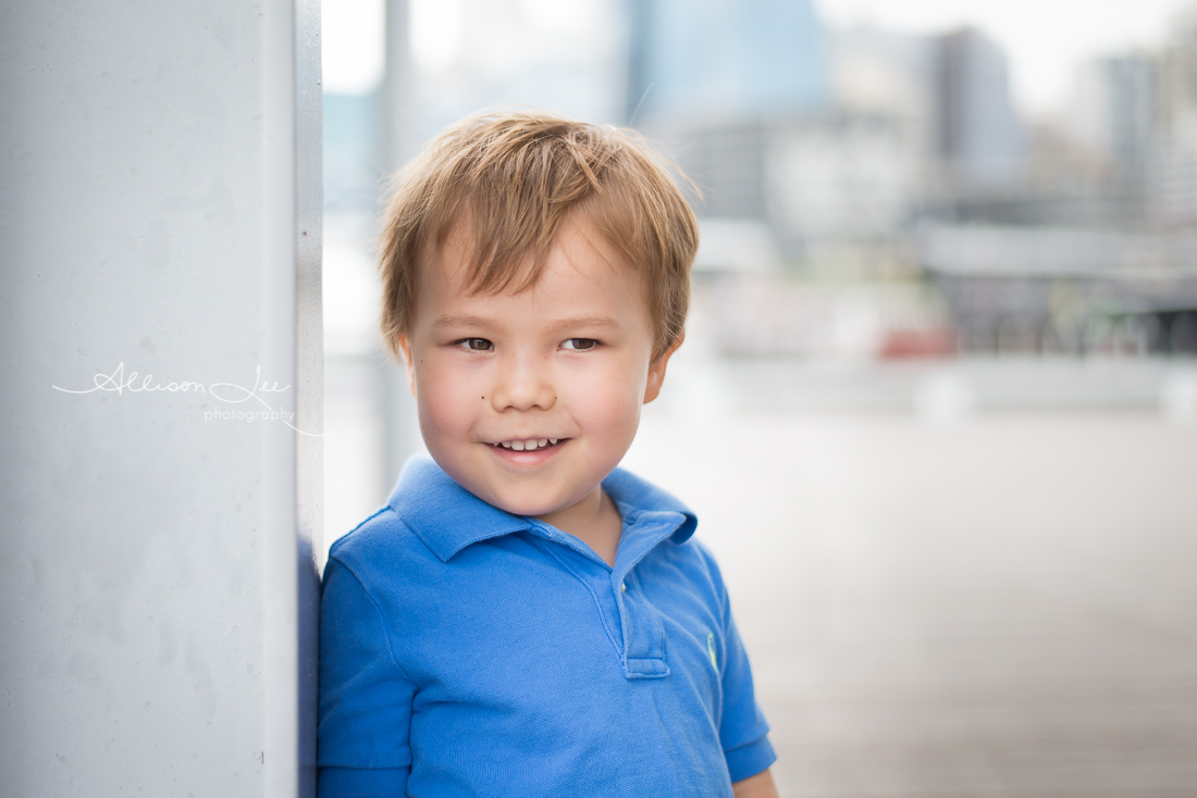 Blonde haired toddler at Darling Harbour