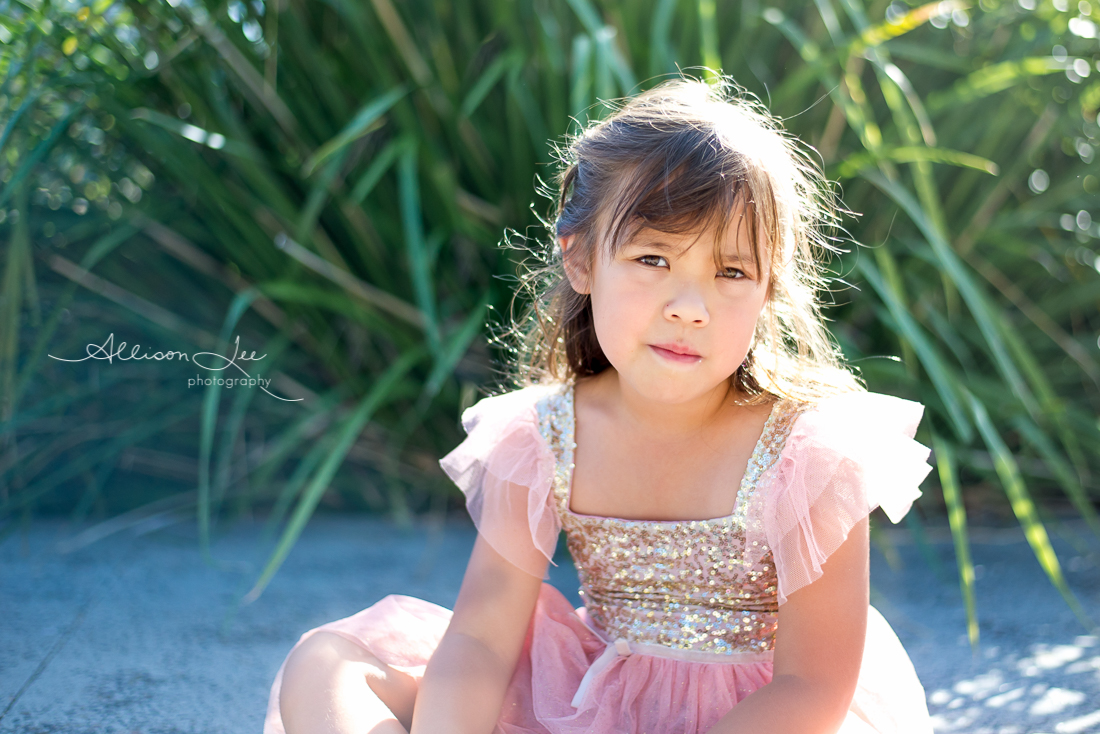 Six year old girl portrait in gold sun in pink dress